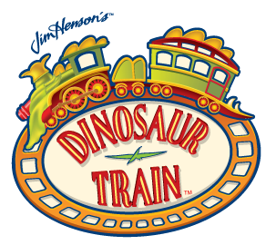 Dinosaur Trains logo featuring a train and Jim Hensons signature