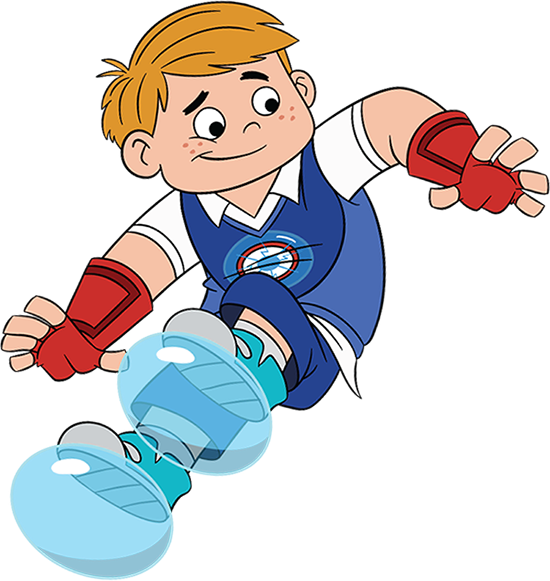 Benny uses his bubble powers to put bubbles on his feet and floats on the side of the screen.
