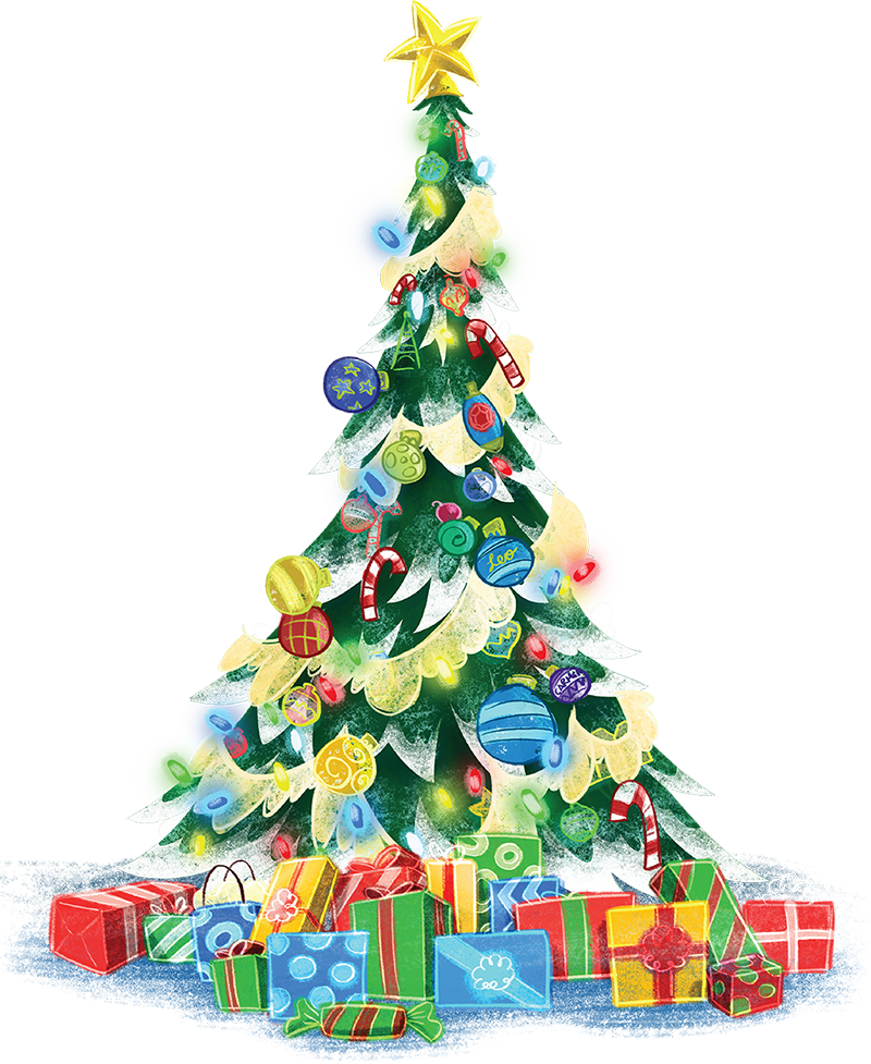 A christmas tree sparkles happily in the corner. Lot's of colorful presents are piled under it.