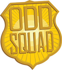 The Odd Squad golden badge logo.