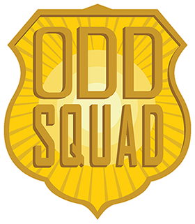 A bright large badge shines in the middle of everything with big letters saying odd squad.