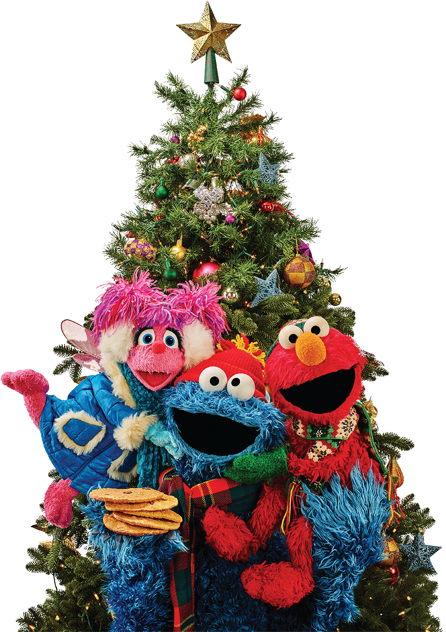 Abby, Cookie Monster and Elmo are all bundled up for winter and ready to celebrate in front of the Christmas tree!
