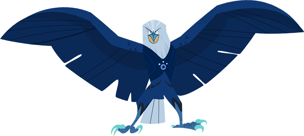 Martin is dressed in his creature power suit as an eagle with wings spread wide!