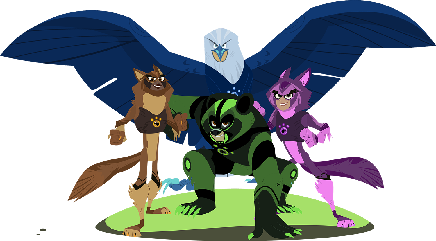 Dressed in their creature power suits the characters stand in a group. Chris as a bear, Martin as an eagle and Aviva and Koki as wolves.