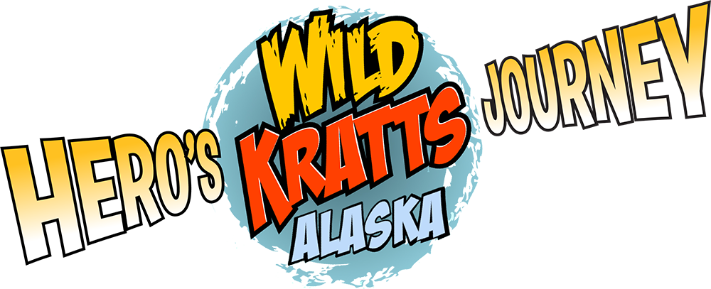 The Wild Kratts round logo surrounded by the movie title Hero's Jouney Alaska.