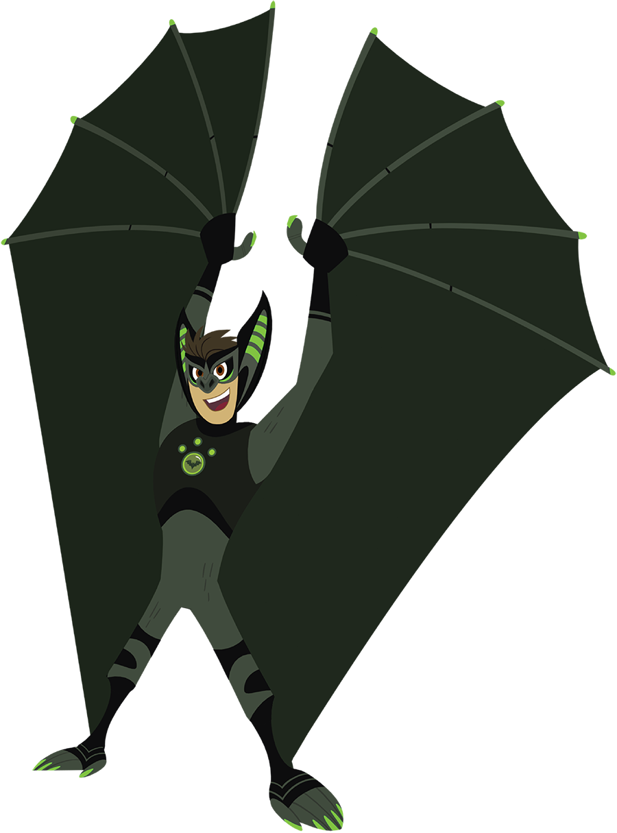 Chris in his bat creature power suit holds up his wings and smiles out at you.