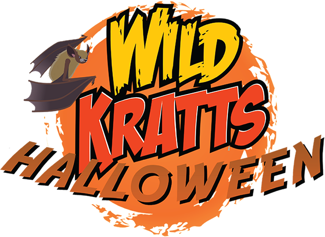 A spooooky version of the Wild Kratts round logo! It reads Halloween on it and a bat hangs off the circle looking at you.